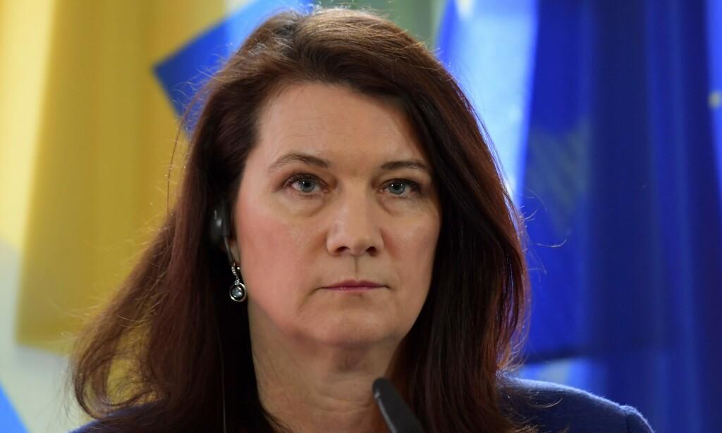 BEKYMRA: Sverige utensriksminister Ann Linde. Foto: Tobias SCHWARZ / AFP / NTB scanpix