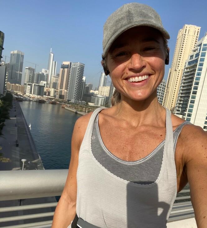 <strong>SPORTY:</strong> Ingers hverdag i Dubai var annerledes enn hvordan den blir i Norge. De som har fulgt henne i sosiale medier har fått se flere slike bilder. Foto: NTB Scanpix