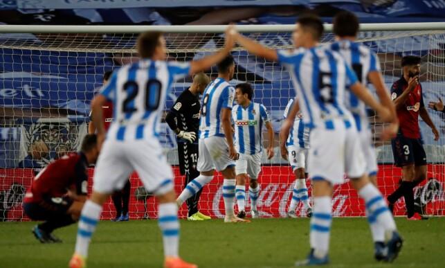 1-1: Real Sociedad-spillerne jubler for 1-1. Foto: NTB scanpix