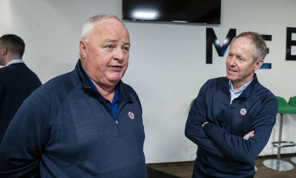 FLERE MØTER: For fotballpresident Terje Svendsen (t.v.)tv. og generalsekretær Pål Bjerketvedt. Foto: Terje Pedersen / NTB scanpix
