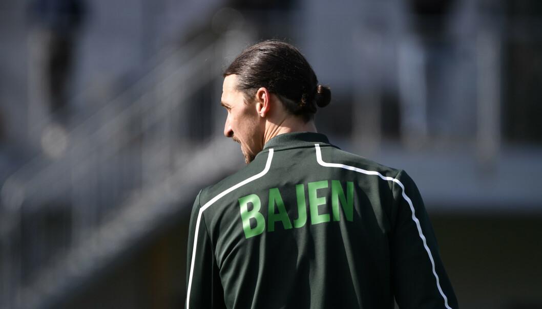 Stockholm, Sverige 20200413.  Zlatan Ibrahimovic var på plats när Hammarby IF tränade på Årsta IP under måndagen. Foto: Henrik Montgomery/TT / NTB scanpix