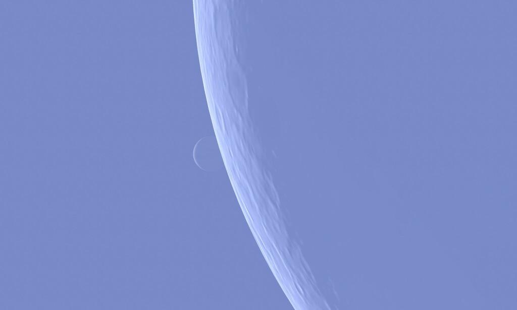 VENUS: En Venus-okkultasjon er når man kan se Venus forsvinne bak månens venstre rand, for så å dukke opp igjen på andre siden. Foto: NTB Scanpix