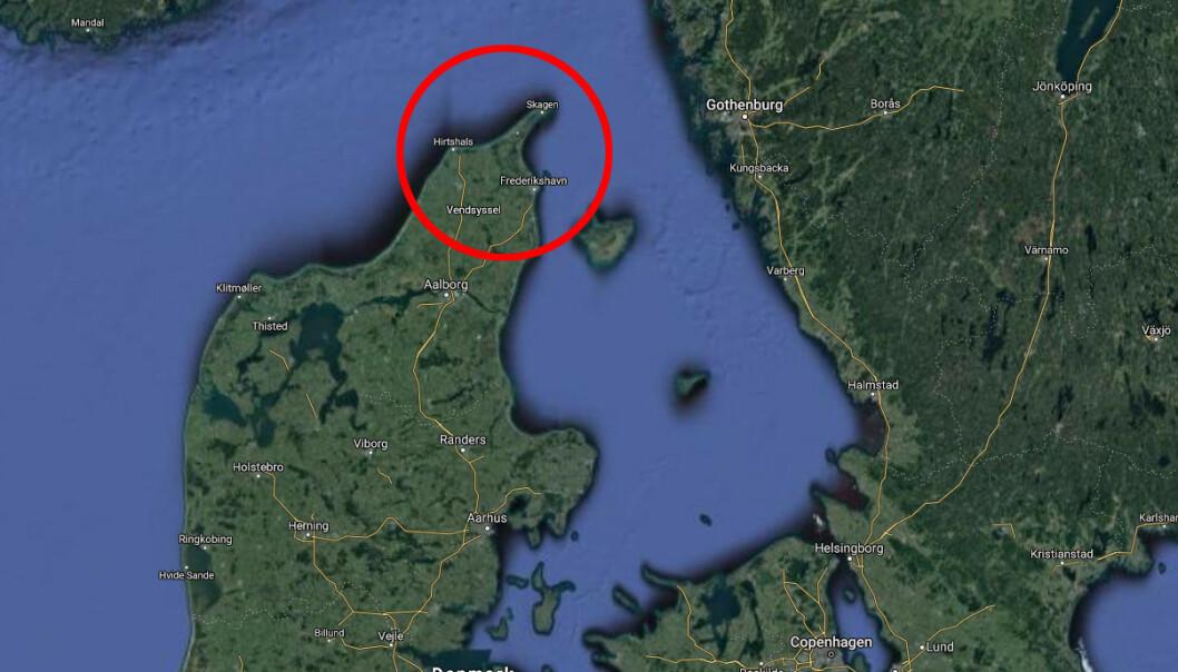 <strong>HØY CORONASMITTE:</strong> Hjørring er kommunen i Danmark med flest smittetilfeller den siste uken, melder Dansk Radio. Foto: Skjermdump