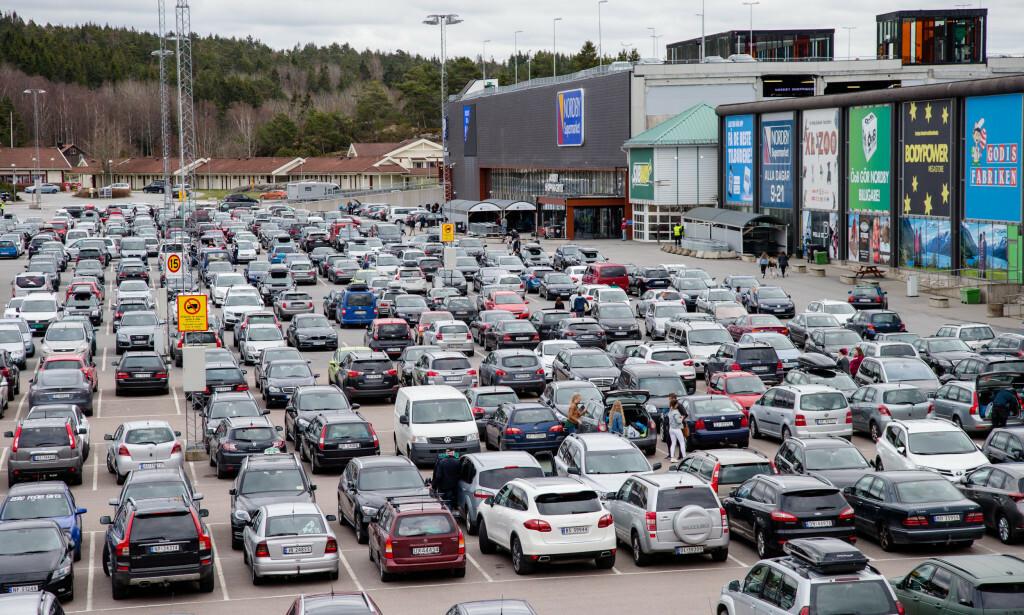 SVINESUND: Et fullpakket Nordby kjøpesenter i mars 2017. Foto: Audun Braastad / NTB scanpix.