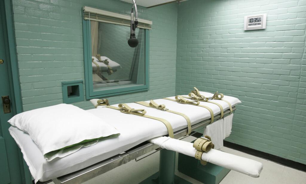 DØDSKAMMER: Dette bildet fra Huntsville i Texas viser en båra den dødsdømte blir spent fast på før gift injiseres. Foto: AP Photo/Pat Sullivan, File