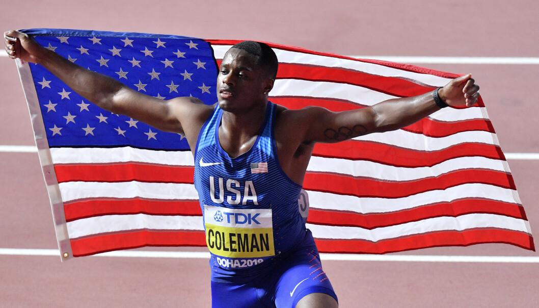 BRUDD: Verdensmesteren på 100 meter i Doha i fjor, Christian Coleman, risikerer å bli utestengt for brudd på dopingreglene. Foto: AP Photo/Martin Meissner, File