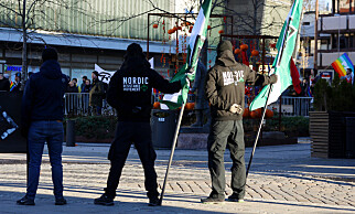 Den nordiske motstandsbevegelsen (DNM) fikk innvilget søknaden om to torgmøter i Østfold i oktober 2018. Her fra møtet i Fredrikstad. Foto: Ørn Borgen / NTB Scanpix