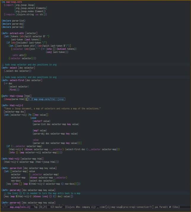 """Børge André Jensen: """"Emacs med Spacemacs-Dark Theme. Er veldig mye som ikke er synlig i skjermdumpen her, men blant det jeg bruker MYE i Emacs er Cider (the Clojure(Script) Interactive Development Environment that Rocks!), Magit for Git og clj-refactor."""""""