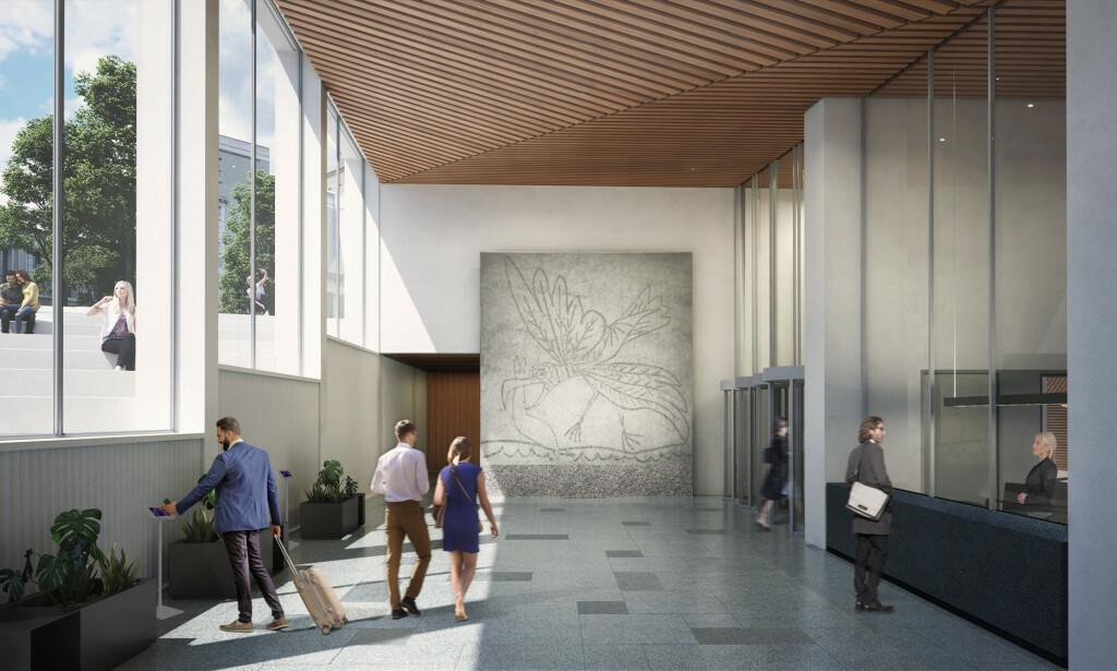 NYTT HJEM: Picasso og Nesjars «Måken» blir stående i vestibylen i den nye A-blokka. Illustrasjon: Statsbygg