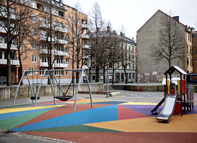 FOR BYBARN: Særlig i større byer har lekeplasser med fargerikt gummidekke dukket opp de siste åra. Foto: Nina Hansen / Dagbladet
