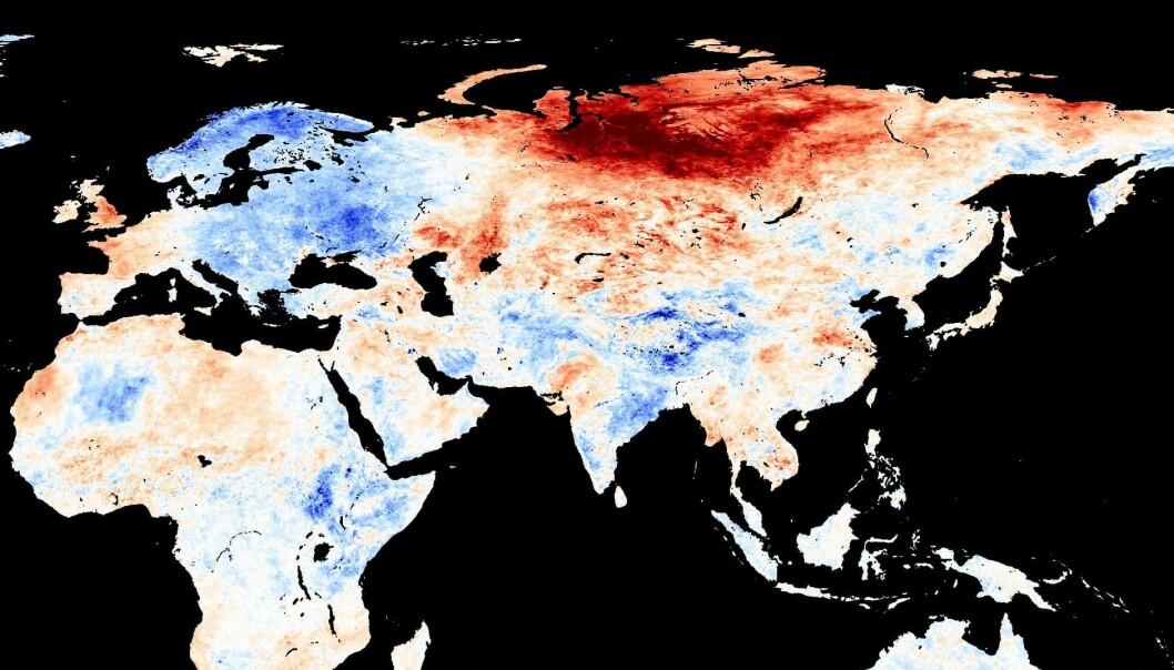 VARMERE: Et kart visere steder med varmere temperaturer enn gjennomsnittet med rød farger og steder med kaldere temperatur enn gjennomsnittet med blå farger for mai. Foto: Modis/NEO/Nasa