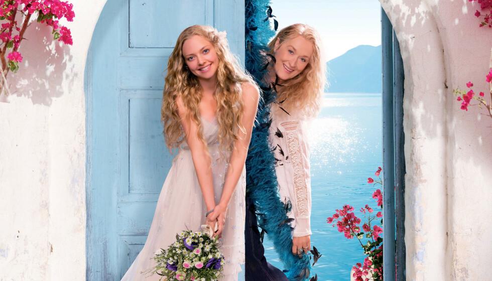 DEN GANG DA: Slik så det ut første gang Amanda Seyfried og Meryl Streep gikk inn i rollene som mor og datter i «Mamma Mia!». FOTO:NTB Scanpix