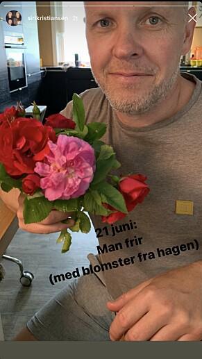 FRIDDE: Bjurstedt fridde med blomster fra egen hage. Foto: Skjermdump Instagram