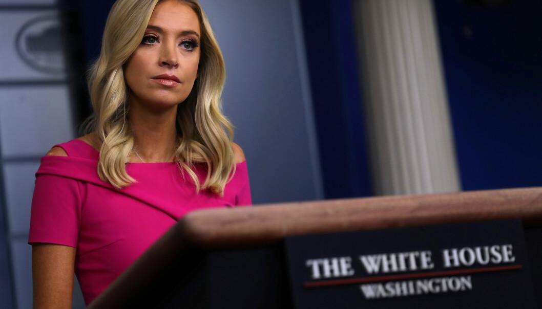 DET HVITE HUS: Pressesekretær Kayleigh McEnany under en pressebrifing i Det hvite hus. Foto: Reuters