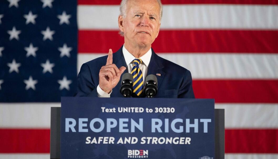 RIVAL: Demokratenes kandidat, Joe Biden, minner om presidentens omstridte uttalelse lørdag. Foto: JIM WATSON / AFP