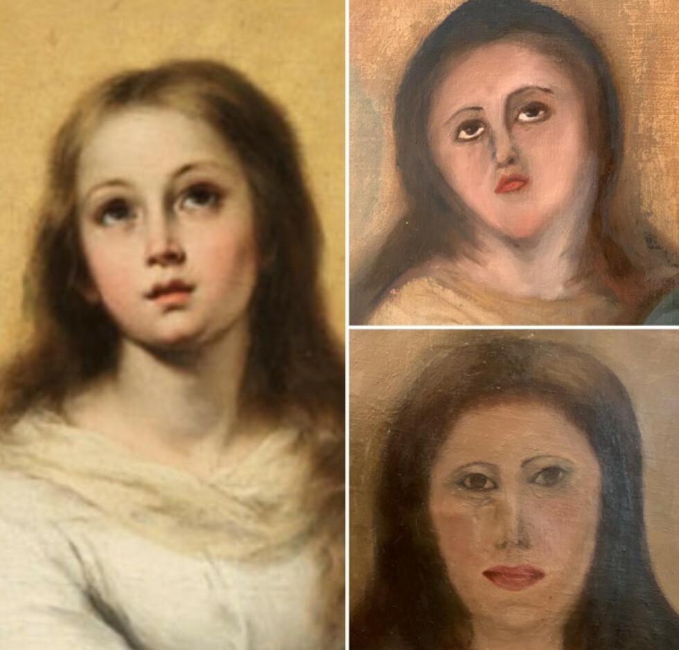 MALEBRØLER: Til venstre: det originale maleriet av Bartolomé Esteban Murillo. Til høyre: Møbeloppusserens to forsøk på å restaurere maleriet etter en vask. Foto: Europa Press