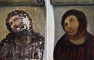 «POTET-JESUS»: Slik så det ut da da kvinnen i 80-åra bestemte seg for å restaurere Martinez' klassiske maleri. Foto: AFP / NTB scanpix
