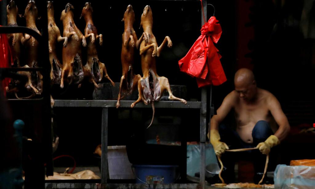 SELGES: I disse dager selges hundekjøtt fra boder på det omstridte hundekjøttmarkedet i Kina. Foto: Tyrone Siu / Reuters / NTB scanpix