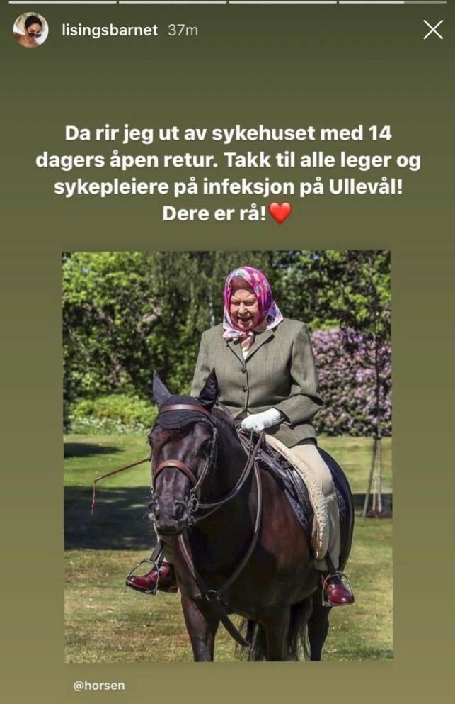 ÅPEN RETUR: Lisa Tønne takker både leger og sykepleiere ved Ullevål sykehus. Foto: Skjermdump fra Instagram