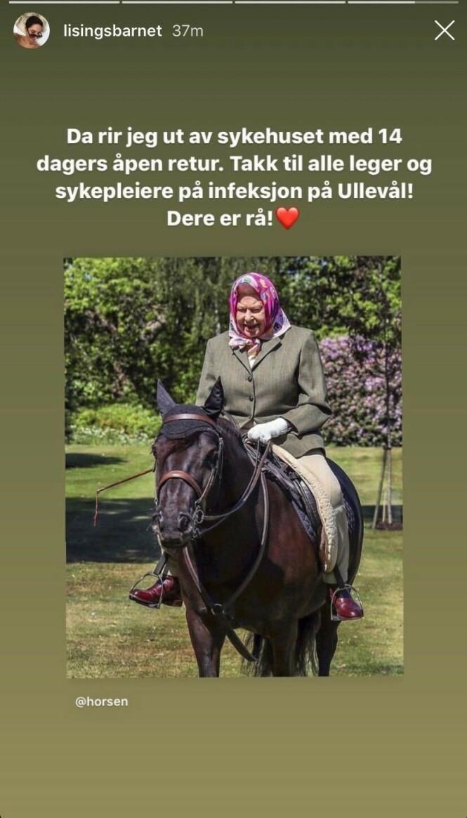 <strong>ÅPEN RETUR:</strong> Lisa Tønne takker både leger og sykepleiere ved Ullevål sykehus. Foto: Skjermdump fra Instagram