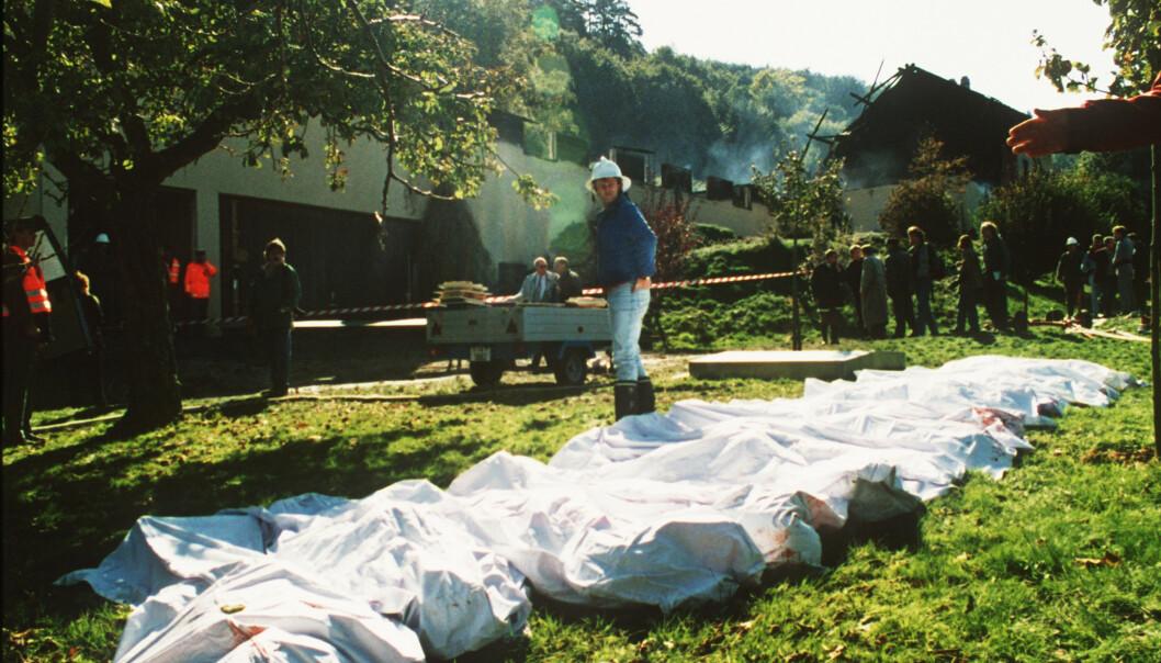 23 døde funnet på gården i sveitsiske Cheiry 5. oktober 1994. Flere skulle det bli. Foto: Meyer-AFP/NTB Scanpix