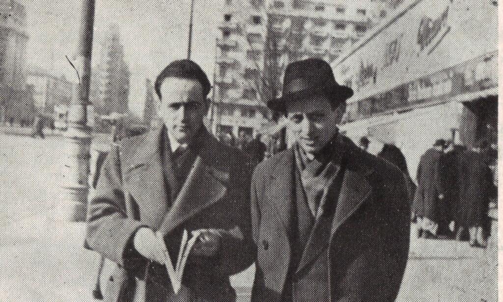 POETER I BUCURESTI: Paul Celan (t.v.) sammen med venn og kollega Petre Solomon i Bucuresti i 1947. Foto: WIKIMEDIA COMMONS