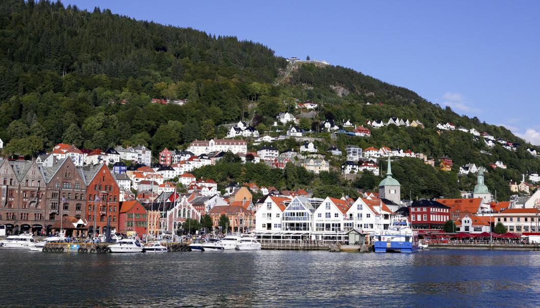 Bergen sett fra Vågen mot Bryggen og Fisketorget. Her er det god hotellkapasitet i sommer. Foto: Marianne Løvland NTB Scanpix