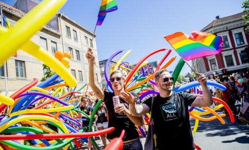 PRIDE: Årets parade ble avlyst som følge av coronasituasjonen. Her fra fjorårets feiring. Foto: Stian Lysberg Solum / NTB scanpix