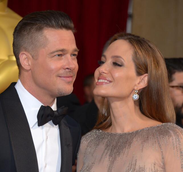 2014: For fire år siden kom nyheten om at Hollywood-paret Angelina Jolie og Brad Pitt skulle gå hver til sitt. Foto: NTB Scanpix