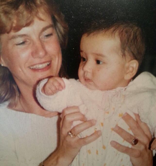 BABY: Dette bildet ble tatt like etter at Jorun Stiansen kom fra Colombia til sine foreldre i Norge. Foto: Privat