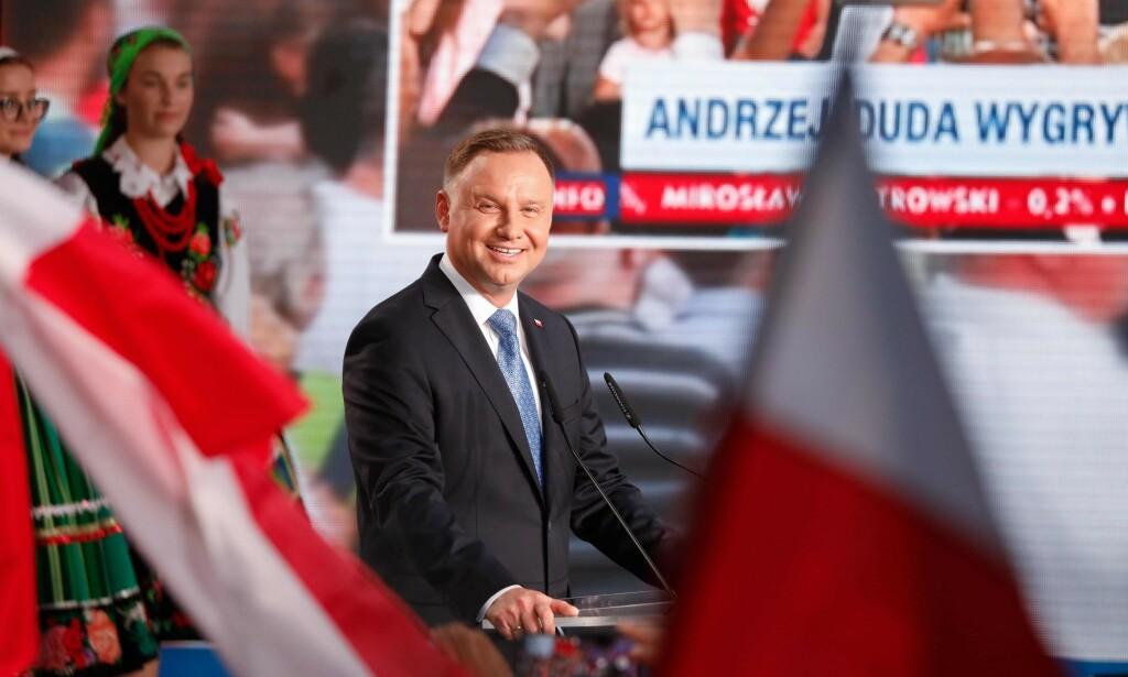 VINNEREN: Andrzej Duda fikk 51, 2 prosent av stemmene i søndagens polske presidentvalg. Foto: AFP / NTB Scanpix