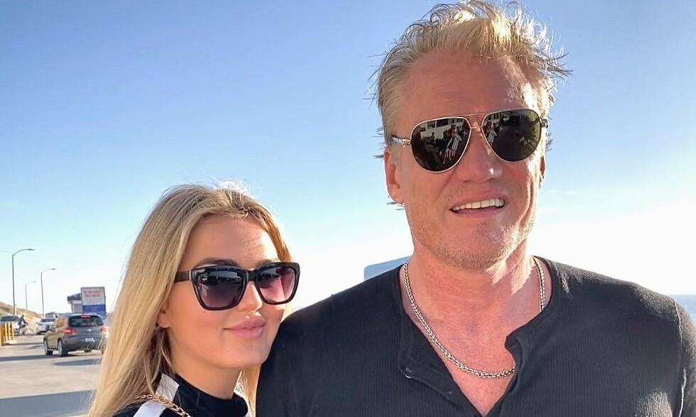 FORLOVET: I midten av juni ble det kjent at den svenske actionstjerna Dolph Lundgren (62) hadde forlovet seg med norske Emma Krokdal (24). Nå raser Lundgrens ekskjæreste Jenny Sandersson i et innlegg på Instagram. Foto: Privat