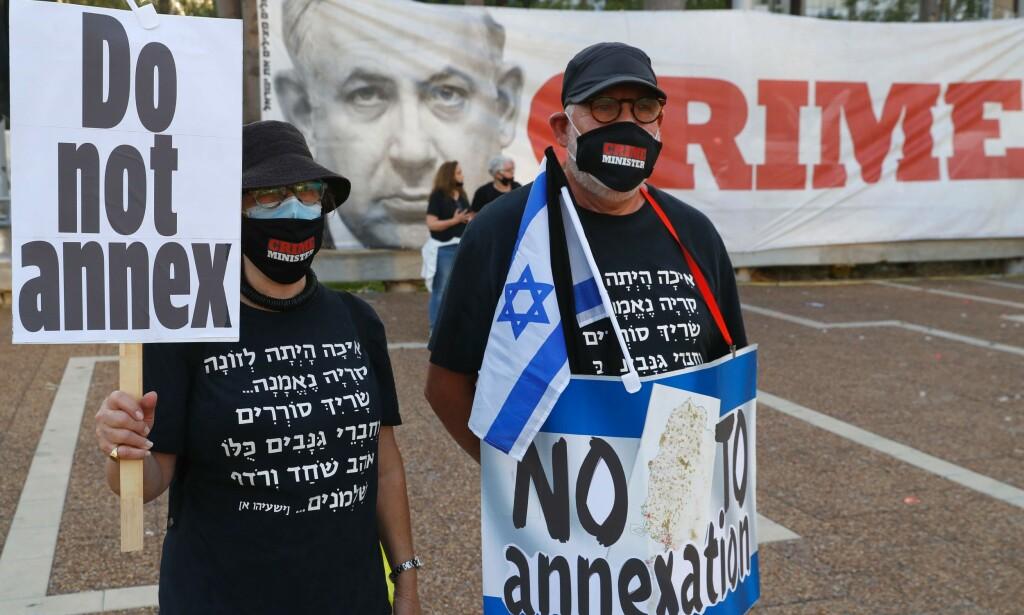 GATAS MINDRETALL: Det har vært en rekke protester mot Benjamin Netanyahus planer om å annektere Jordandalen. Bildet er fra Rabinplassen i Tel Aviv 6. juni. Foto: Jack Guez/AFP/NTB Scanpix