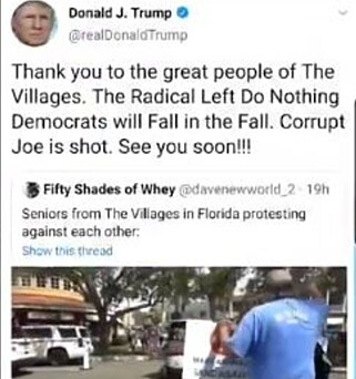 TVITRET: Trumps nå fjernede Twitter-post der han hyller sine tilhengere i The Villages.