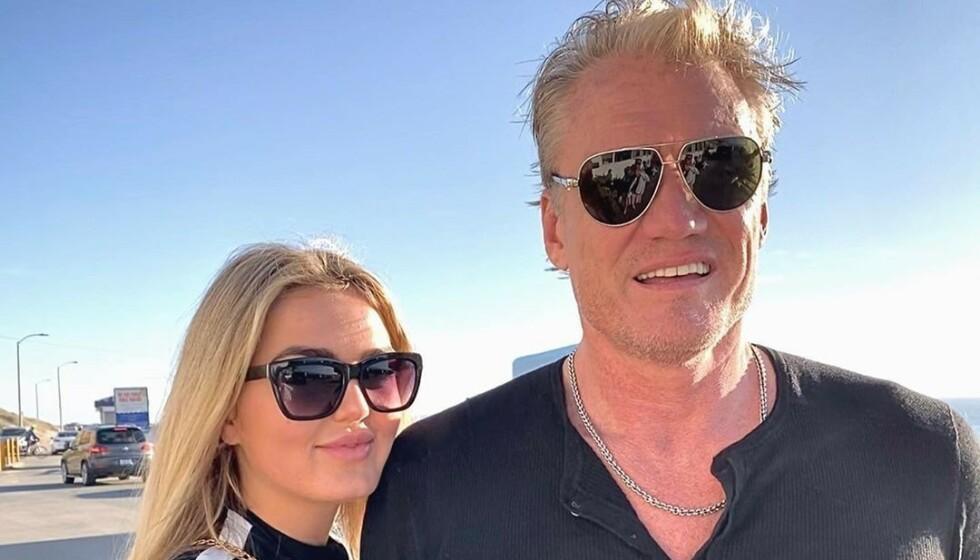 <strong>FORLOVET:</strong> I midten av juni ble det kjent at den svenske actionstjerna Dolph Lundgren (62) hadde forlovet seg med norske Emma Krokdal (24). Nå raser Lundgrens ekskjæreste Jenny Sandersson i et innlegg på Instagram. Foto: Privat