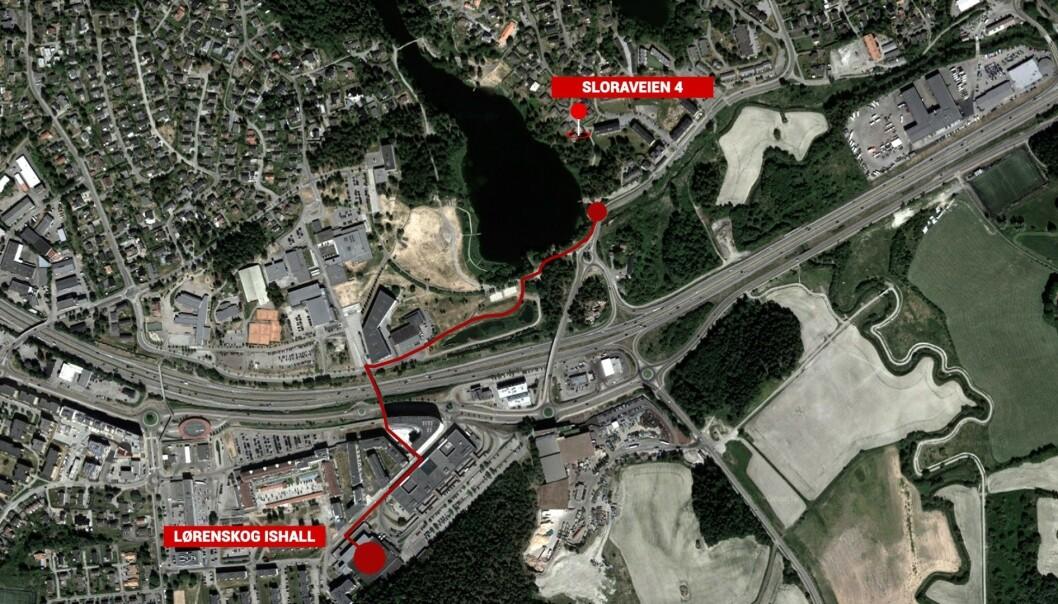 RUTA: Slik gikk det ukjente vitnet. Kart: Marte Nyløkken Helseth / Google maps