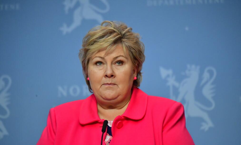 HØYRE-LEDER: Statsminister Erna Solberg opplever et tiltakende påtrykk for at Høyre skal stramme til innvandringspolitikken. Foto: Lars Eivind Bones
