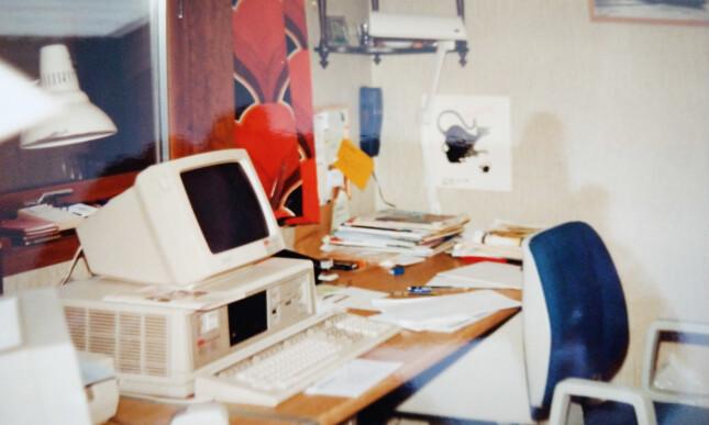 - Jeg fant et bilde av mitt hjemmekontor, fra 1987, forteller Per-Arne. 📸: Privat
