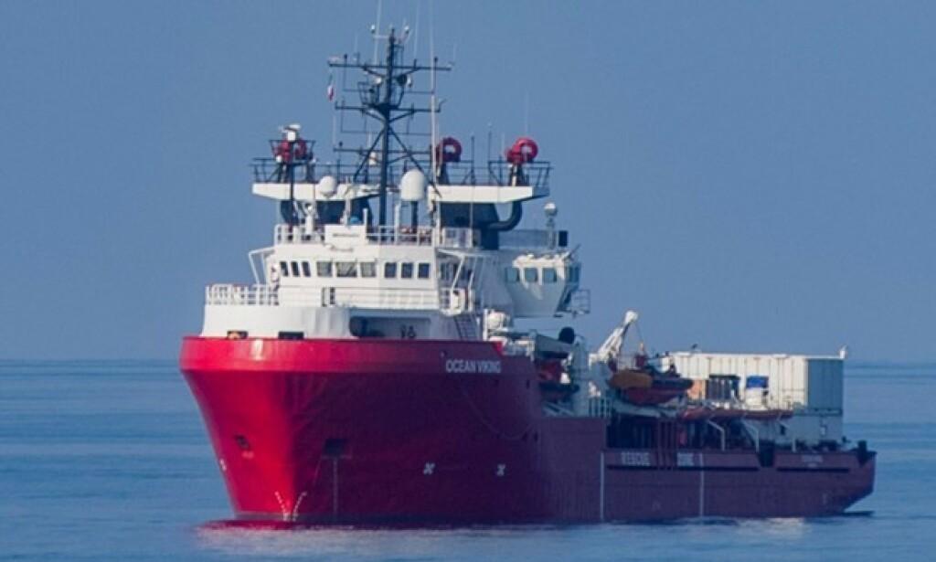 NØDSITUASJON: Det er erklært nødsituasjon på det norske skipet «Ocean Viking». Foto: AFP/NTB Scanpix.
