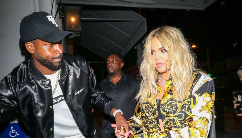 KOBLES TIL HVERANDRE: Denne uken har ekskjærestene Tristan Thompson og Khloé Kardashian blitt koblet til hverandre, etter at basketproffen deltok i sistnevntes bursdag i forrige uke. Foto. NTB Scanpix