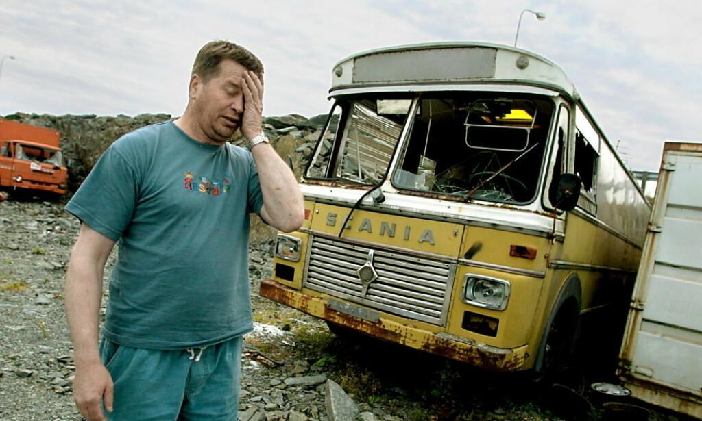 MARERITT: På kort tid ble Finn Kristian Halvorsens liv snudd på hodet. I slutten av juli 2002 ble en buss han eide fullstendig ramponert og i august ble hans lager utsatt for innbrudd og Halvorsen frastjålet verktøy til en verdi av rundt 500 000 kroner. Foto: Alf-Robert Sommerbakk/Haugesunds Avis