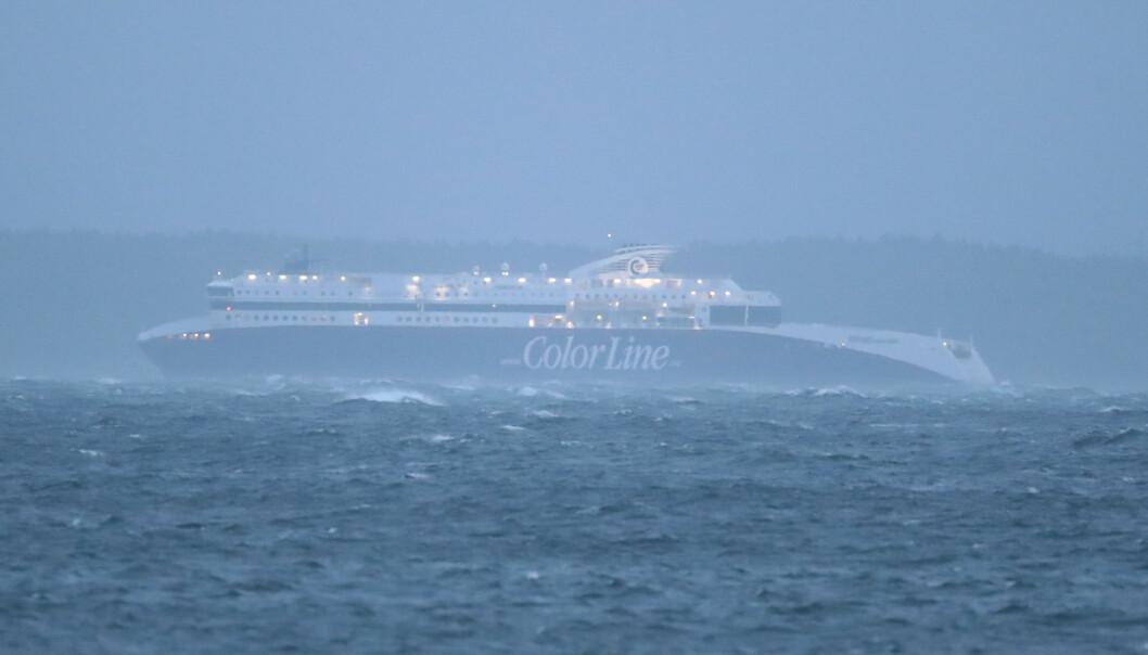 Color Lines Superspeed-skip har vært ute i hardt vær før. Her fra ekstremværet Knud i september 2018. Foto: Lise Åserud / NTB scanpix