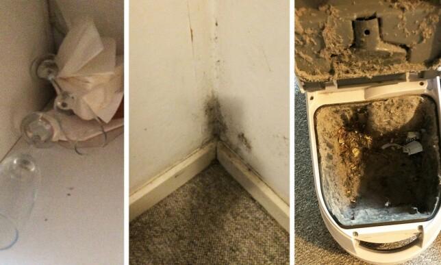 SKITTENT: Feriehuset hadde skitt opp etter veggene, et klissete gulv, en full støvsuger uten nye støvsugerposer og brukte glass. Foto: Privat