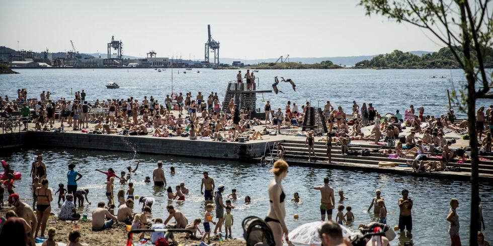 OSLO 20180527 Værbilder. Sol og sommer.  Sørenga i Oslo. Foto: Christian Roth Christensen / Dagbladet