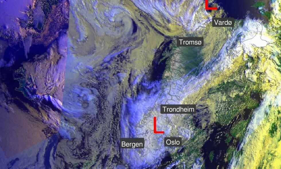 DEKKER LANDET: Lavtrykkene dekker landet både i sør og i nord. Og slik ser det ut til å bli de neste dagene. Foto: Meteorologene / Twitter