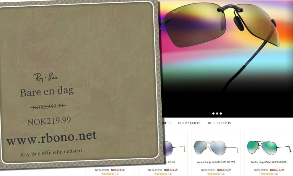 Nettsiden kan se ut som en butikk for Ray-Ban-solbriller, men prisene er helt like, og tilbudene for gode til å være sanne. Kundeanmeldelsene er datert før nettstedet ble registrert. Skjermdump: rbono.net