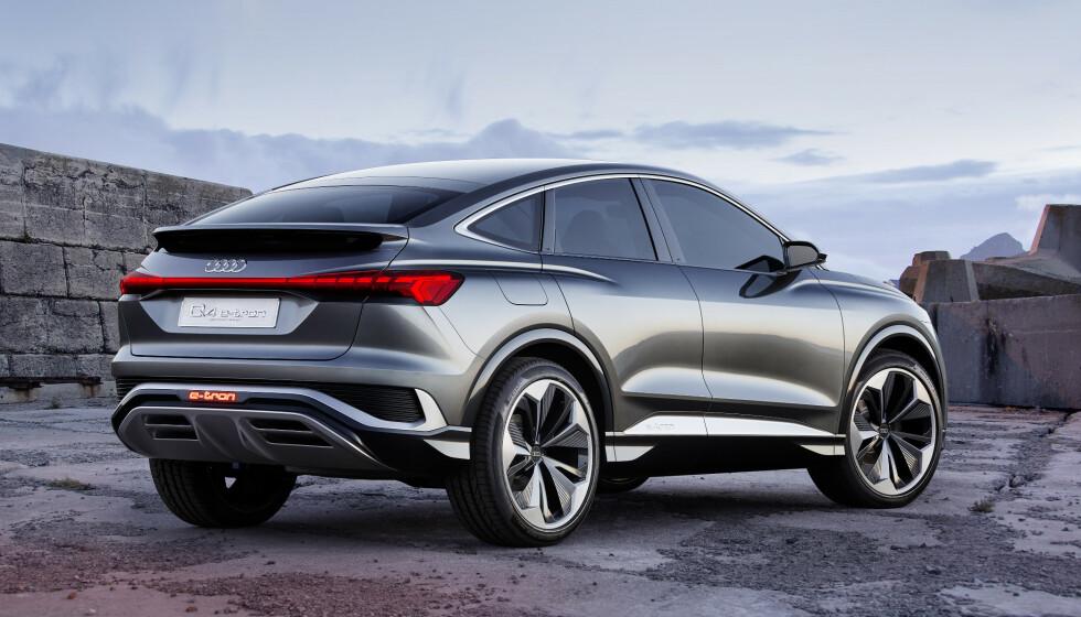 SPORTSLIG: Audi gjør det samme med Q4 e-tron som den eksisterende. De lager en kupé-utgave for å vise en mer sportslig versjon. Foto: Audi