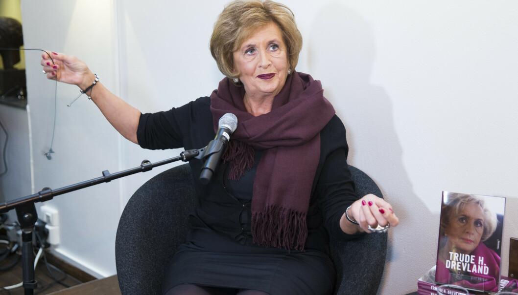 FORFATTEREN: Trude Harriet Larssen Drevland har hatt mange roller. Her presenterer hun sin selvbiografi. Foto: Berit Roald/NTB Scanpix