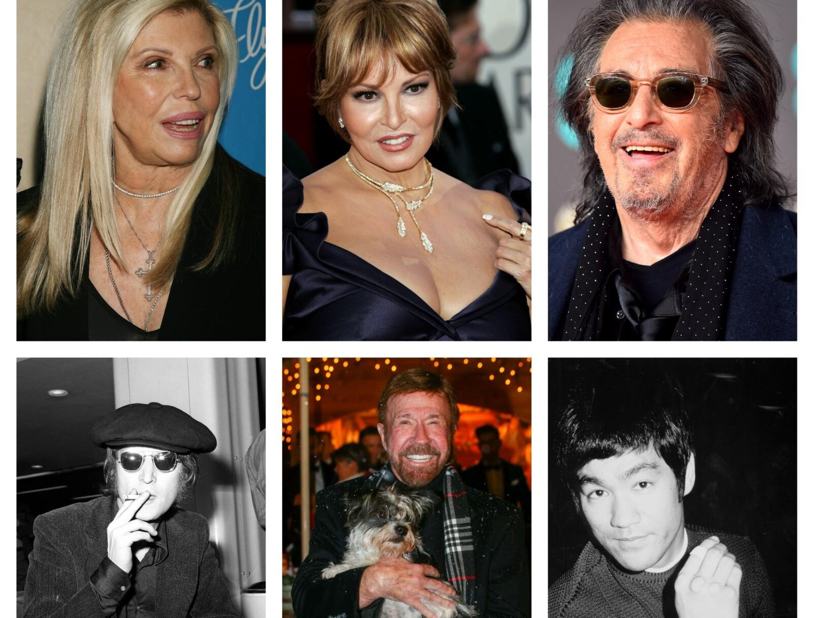 Øverst fra venstre: Nancy Sinatra 8.juni, Raquel Welch 5.september, Al Pacino 25.april, John Lennon ville ha fylt 80 år 9.oktober om han fortsatt levde, Chuck Norris, 10.mars og Bruce Lee, 37.november. Foto: NTB Scanpix