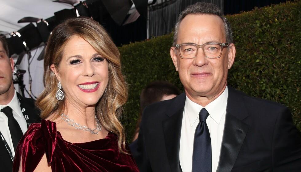 <strong>ÅPNER OPP:</strong> Tom Hanks og Rita Wilson ble begge smittet av corona tidlig i mars. Nå forteller førstnevnte åpent om hvordan perioden som smittet har vært. Foto: NTB Scanpix